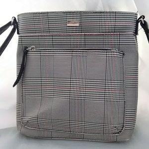 Handbags - Plaid Crossbody Bag Black White Red